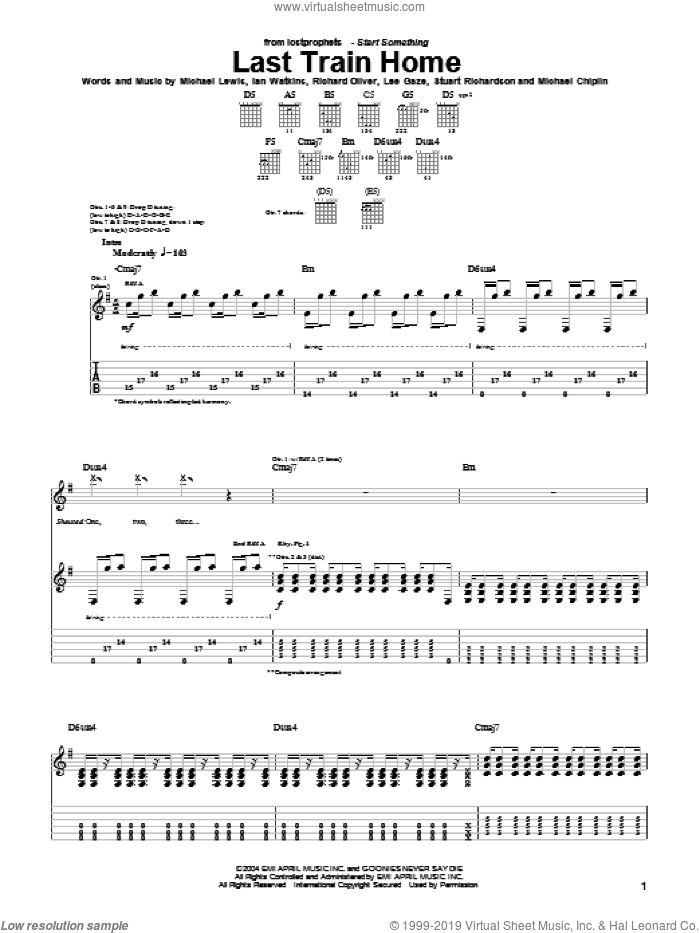 Last Train Home sheet music for guitar (tablature) by Lostprophets, Ian Watkins, Michael Lewis and Richard Oliver, intermediate skill level