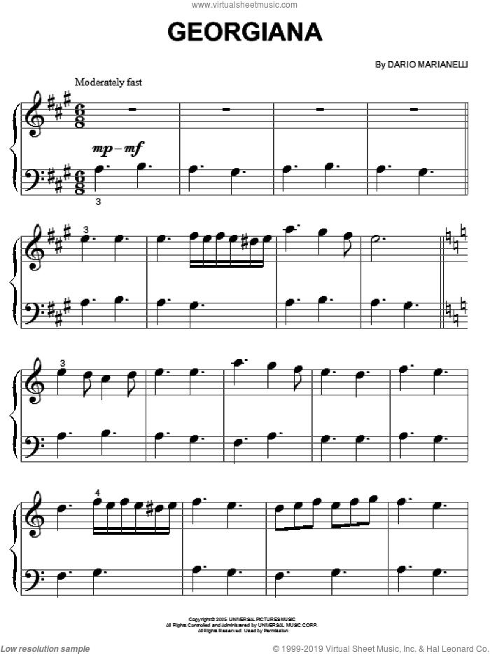 Georgiana sheet music for piano solo (big note book) by Dario Marianelli and Pride & Prejudice (Movie), easy piano (big note book)