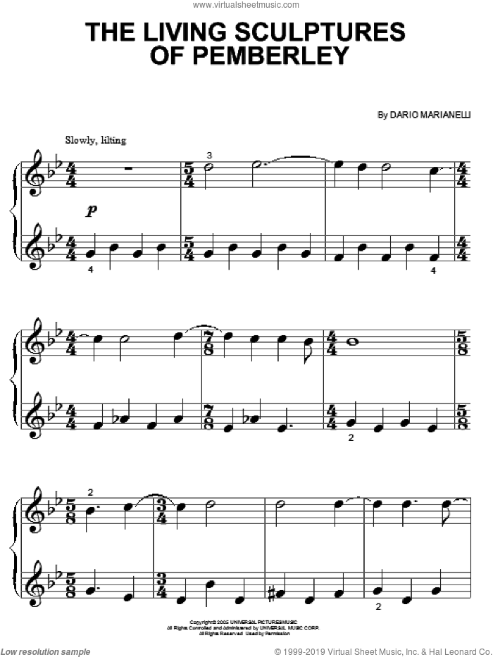 The Living Sculptures Of Pemberley sheet music for piano solo (big note book) by Dario Marianelli. Score Image Preview.