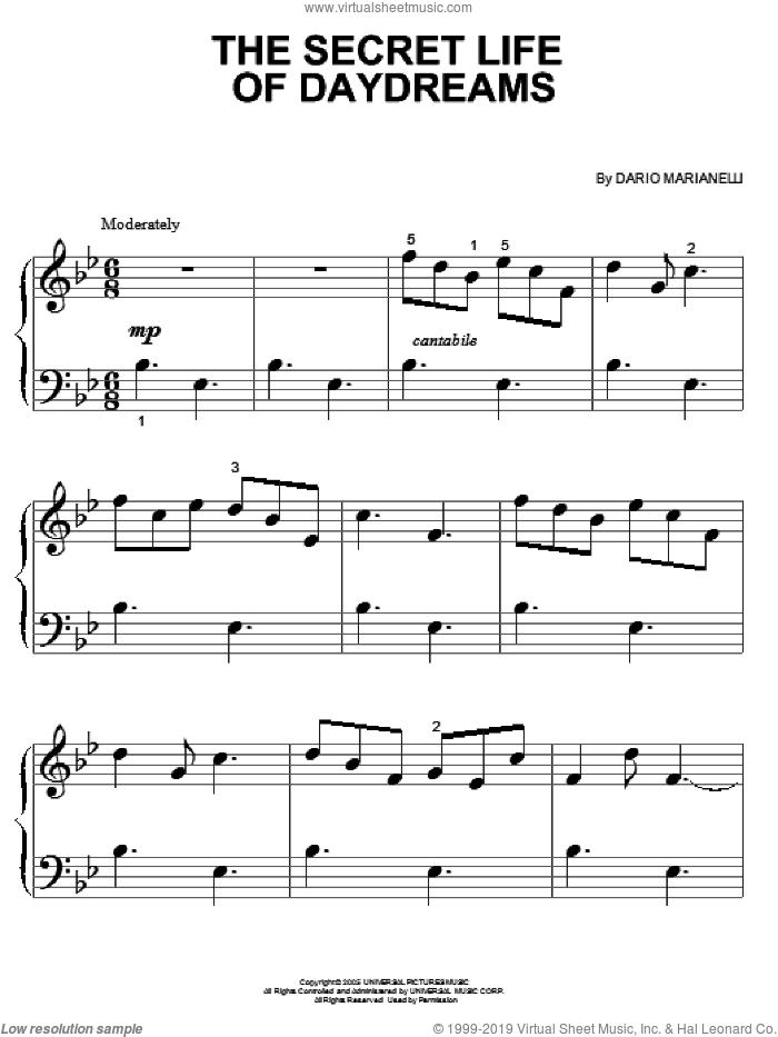 The Secret Life Of Daydreams sheet music for piano solo (big note book) by Dario Marianelli and Pride & Prejudice (Movie), easy piano (big note book)