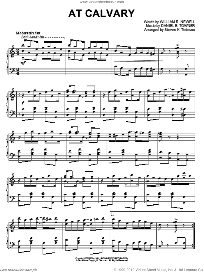 At Calvary sheet music for piano solo by William R. Newell, Steven Tedesco and Daniel B. Towner. Score Image Preview.
