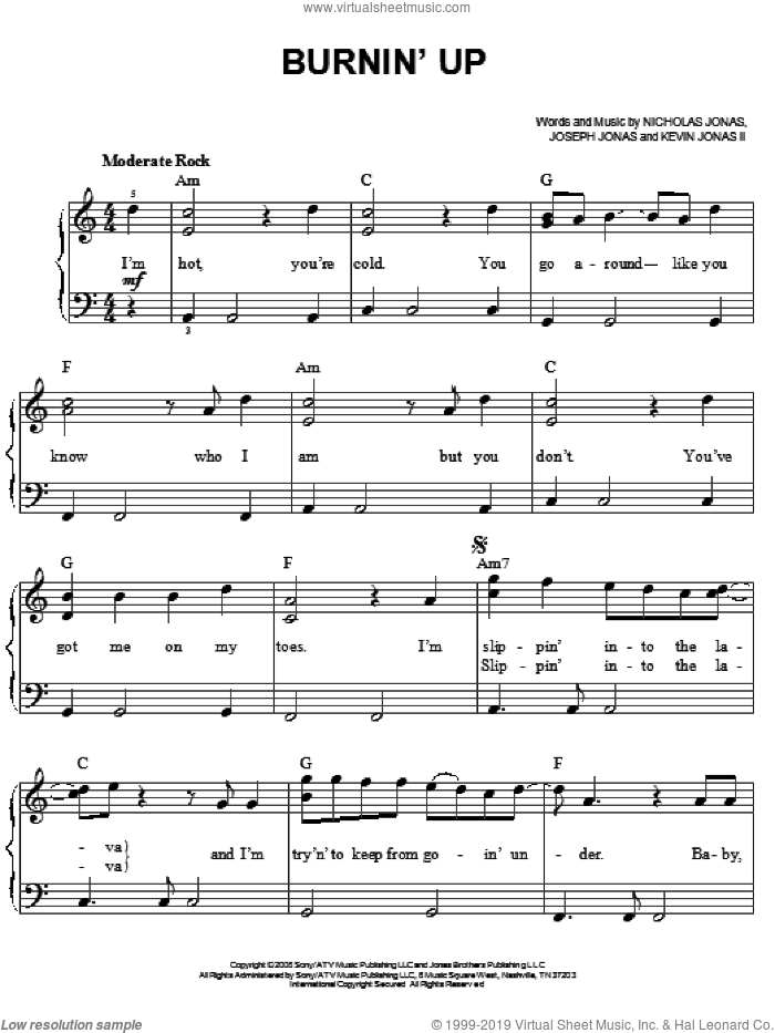 Burnin' Up sheet music for piano solo by Nicholas Jonas and Jonas Brothers. Score Image Preview.