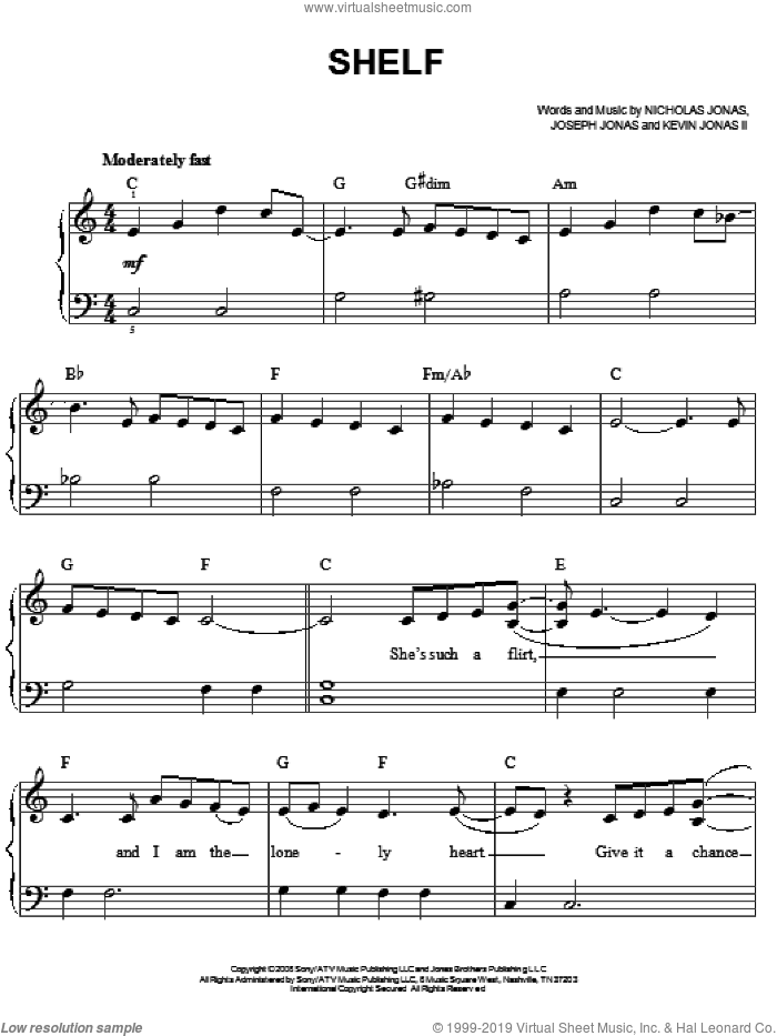 Shelf sheet music for piano solo by Jonas Brothers and Nicholas Jonas, easy piano. Score Image Preview.