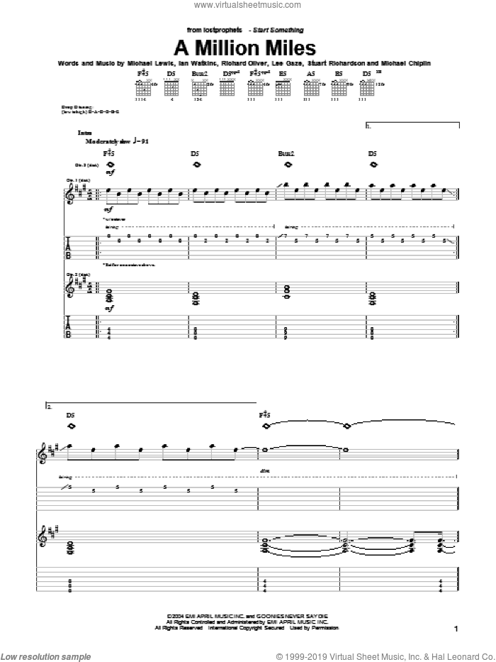 A Million Miles sheet music for guitar (tablature) by Lostprophets. Score Image Preview.