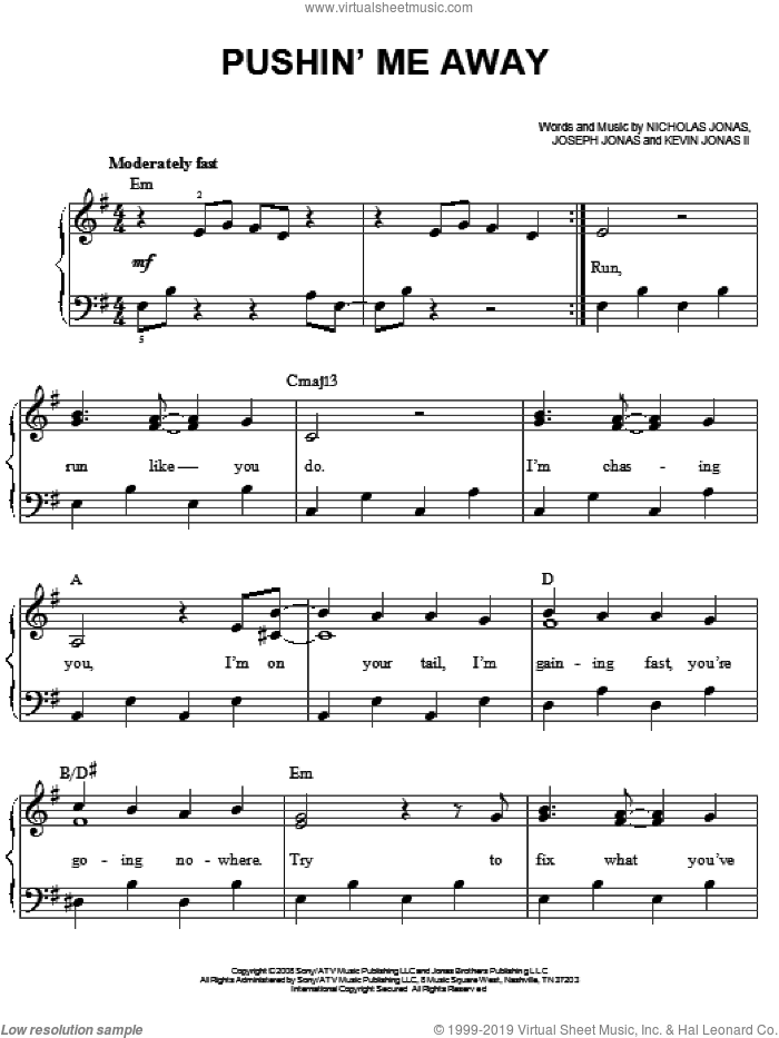 Pushin' Me Away sheet music for piano solo by Jonas Brothers and Nicholas Jonas, easy. Score Image Preview.