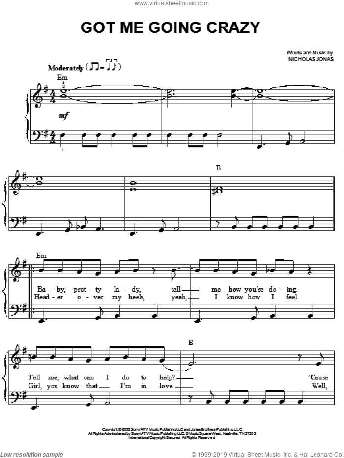 Got Me Going Crazy sheet music for piano solo by Jonas Brothers and Nicholas Jonas, easy skill level