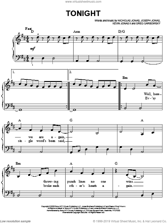 Tonight sheet music for piano solo by Nicholas Jonas and Joseph Jonas. Score Image Preview.
