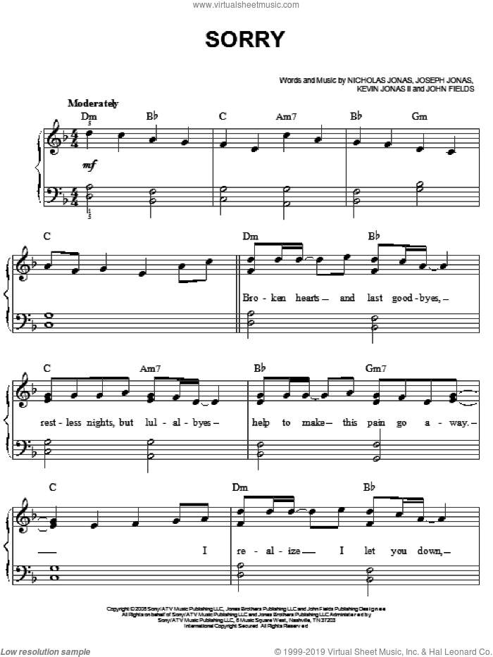 Sorry sheet music for piano solo (chords) by Nicholas Jonas