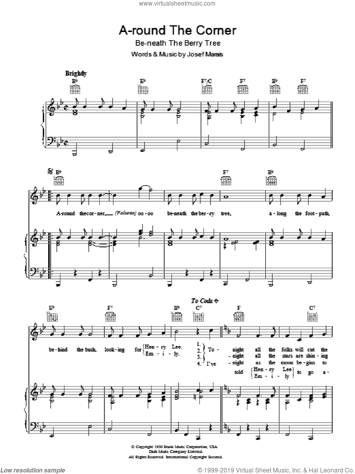 A-round The Corner (Be-neath The Berry Tree) sheet music for voice, piano or guitar by Jo Stafford. Score Image Preview.