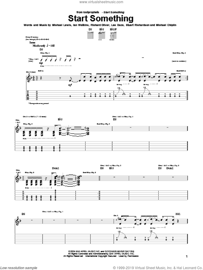 Start Something sheet music for guitar (tablature) by Lostprophets, intermediate. Score Image Preview.
