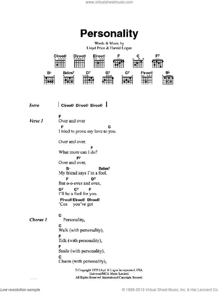 (You've Got) Personality sheet music for guitar (chords) by Harold Logan and Lloyd Price. Score Image Preview.