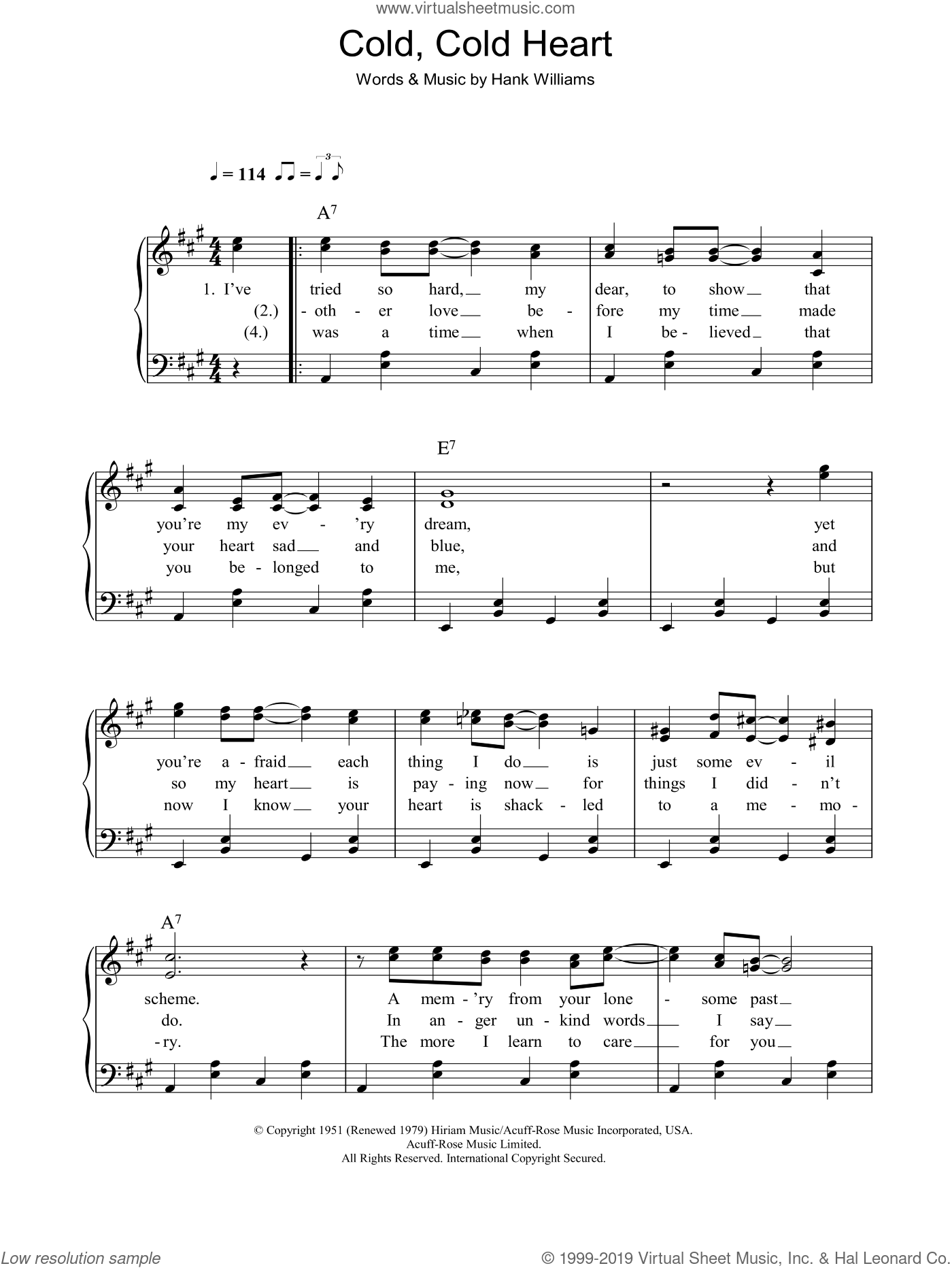 Cold, Cold Heart, (easy) sheet music for piano solo by Norah Jones and Hank Williams, easy skill level