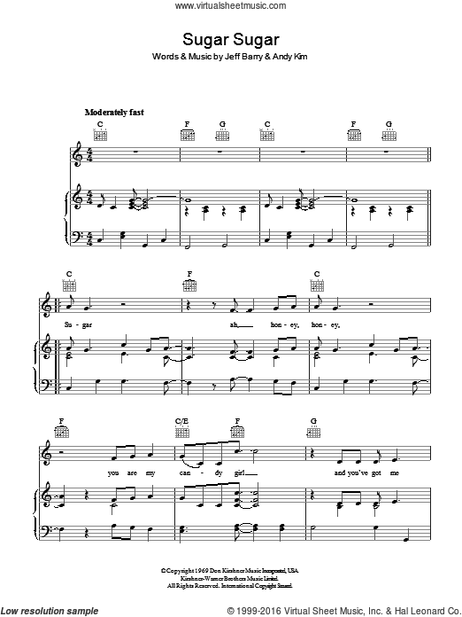 Sugar, Sugar sheet music for voice, piano or guitar by Andy Kim, The Archies and Jeff Barry. Score Image Preview.
