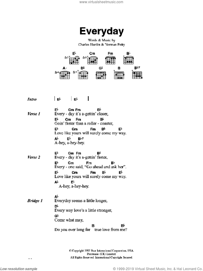 Everyday sheet music for guitar (chords) by Charles Hardin