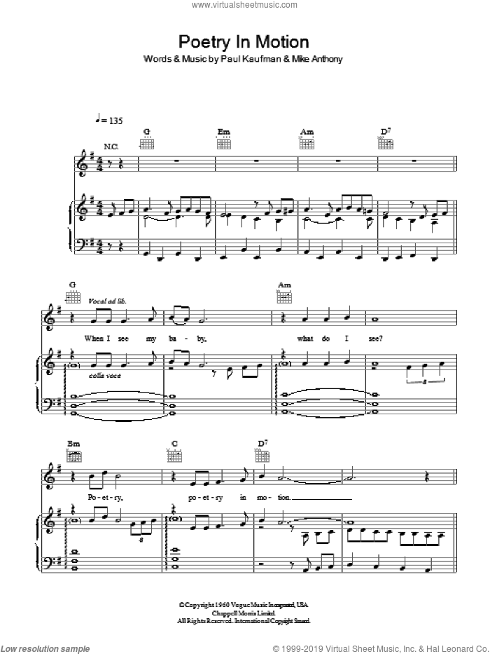 Poetry In Motion sheet music for voice, piano or guitar by J Tillotson, Michael Anthony and Paul Kaufman, intermediate. Score Image Preview.