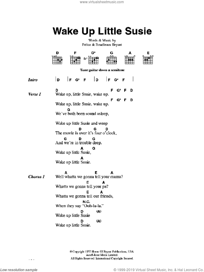 Wake Up Little Susie sheet music for guitar (chords) by Boudleaux Bryant, Everly Brothers and Felice Bryant. Score Image Preview.