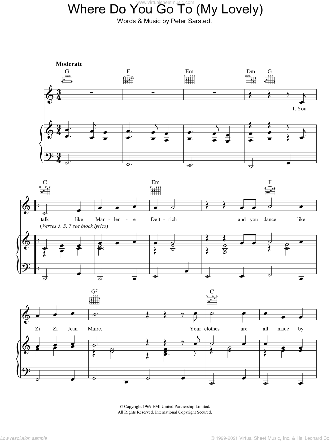 Where Do You Go To (My Lovely) sheet music for voice, piano or guitar by Peter Sarstedt, intermediate skill level