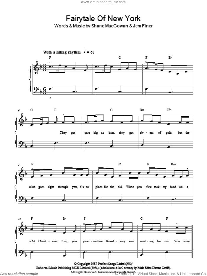 Fairytale Of New York sheet music for piano solo by Shane MacGowan and Jem Finer. Score Image Preview.