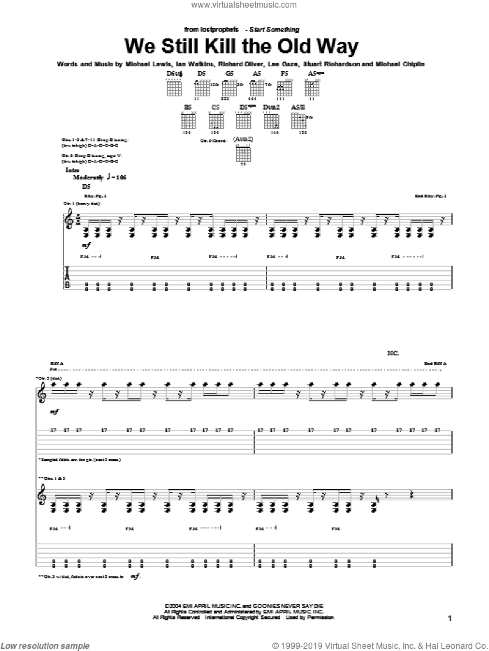 We Still Kill The Old Way sheet music for guitar (tablature) by Richard Oliver and Michael Lewis. Score Image Preview.