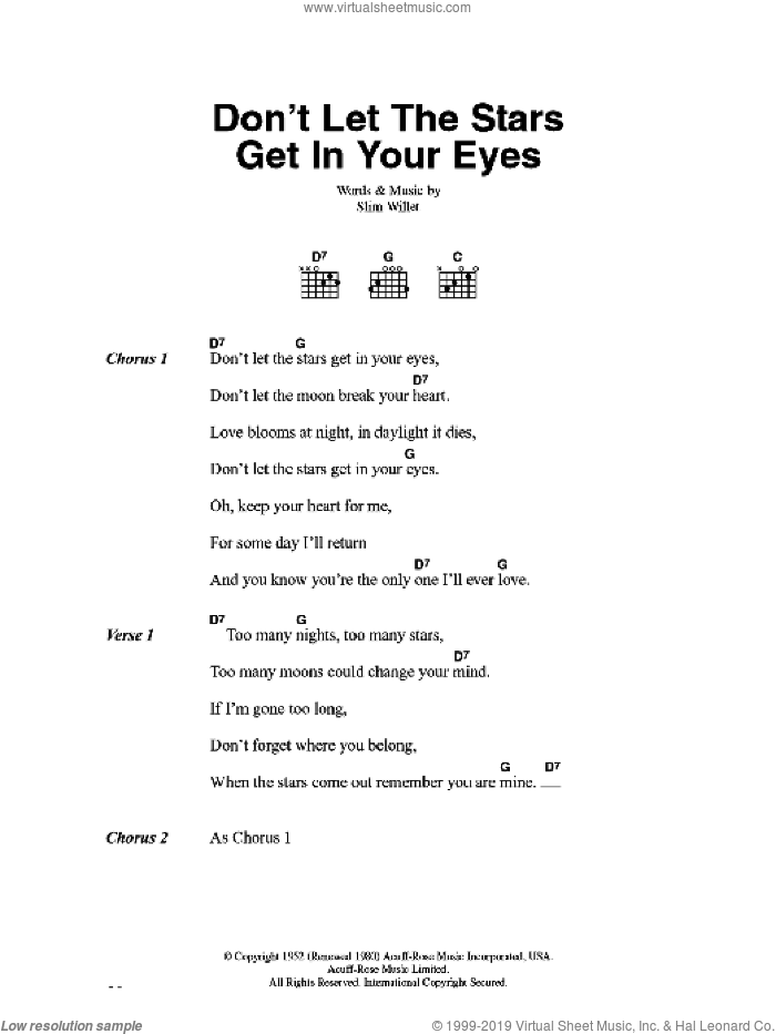 Don't Let The Stars Get In Your Eyes sheet music for guitar (chords) by Slim Willet. Score Image Preview.