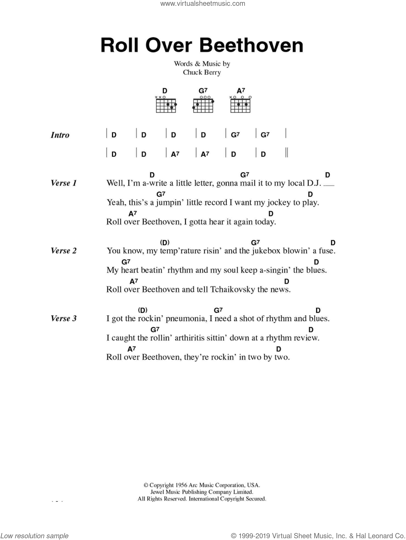 Roll Over Beethoven sheet music for guitar (chords) by Chuck Berry, intermediate. Score Image Preview.