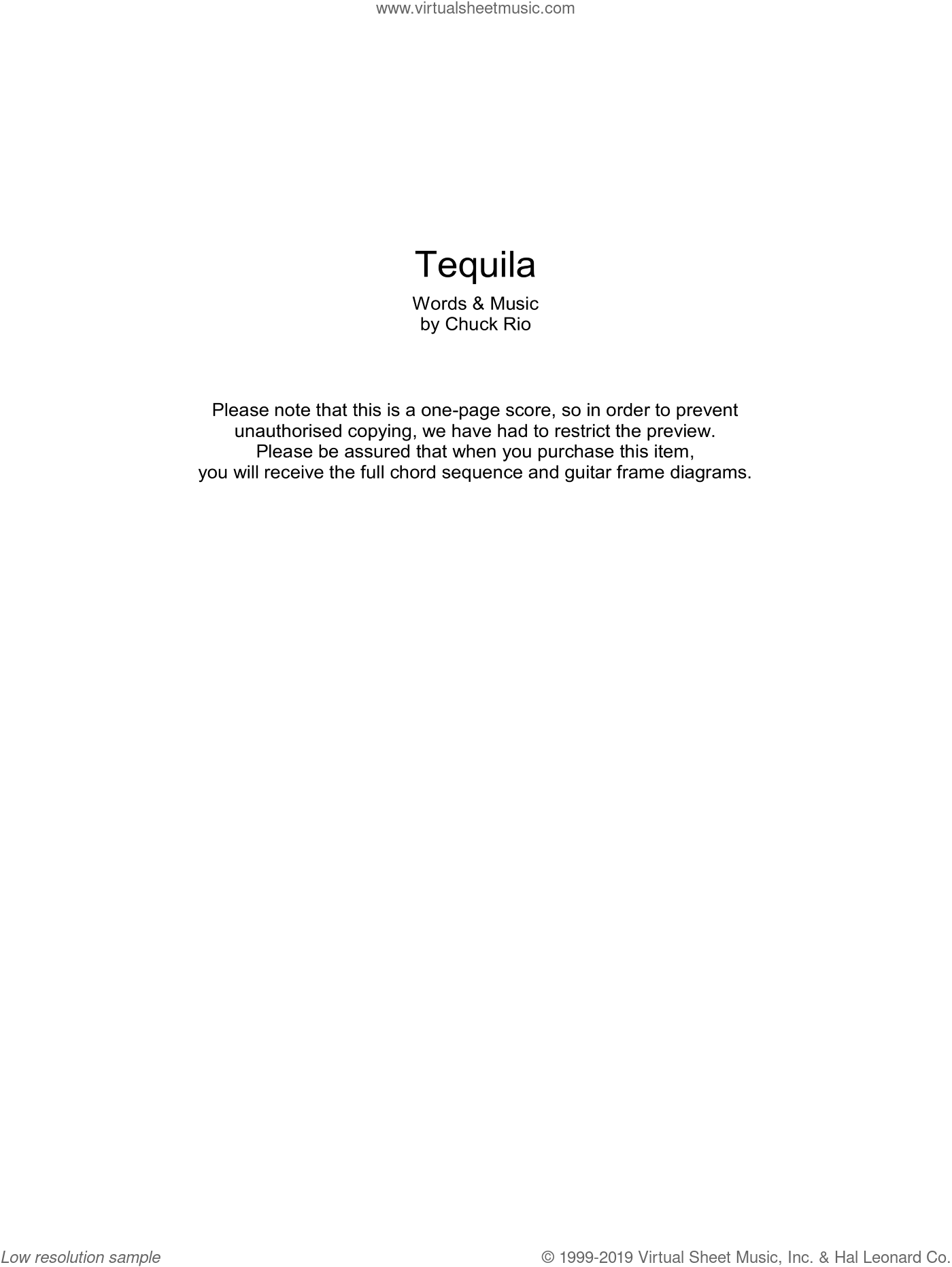 Tequila sheet music for guitar (chords) by The Champs and Chuck Rio, intermediate skill level