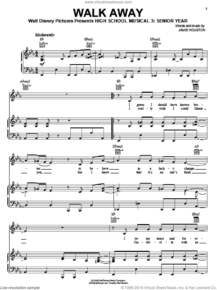Walk Away sheet music for voice, piano or guitar by High School Musical 3 and Jamie Houston, intermediate skill level