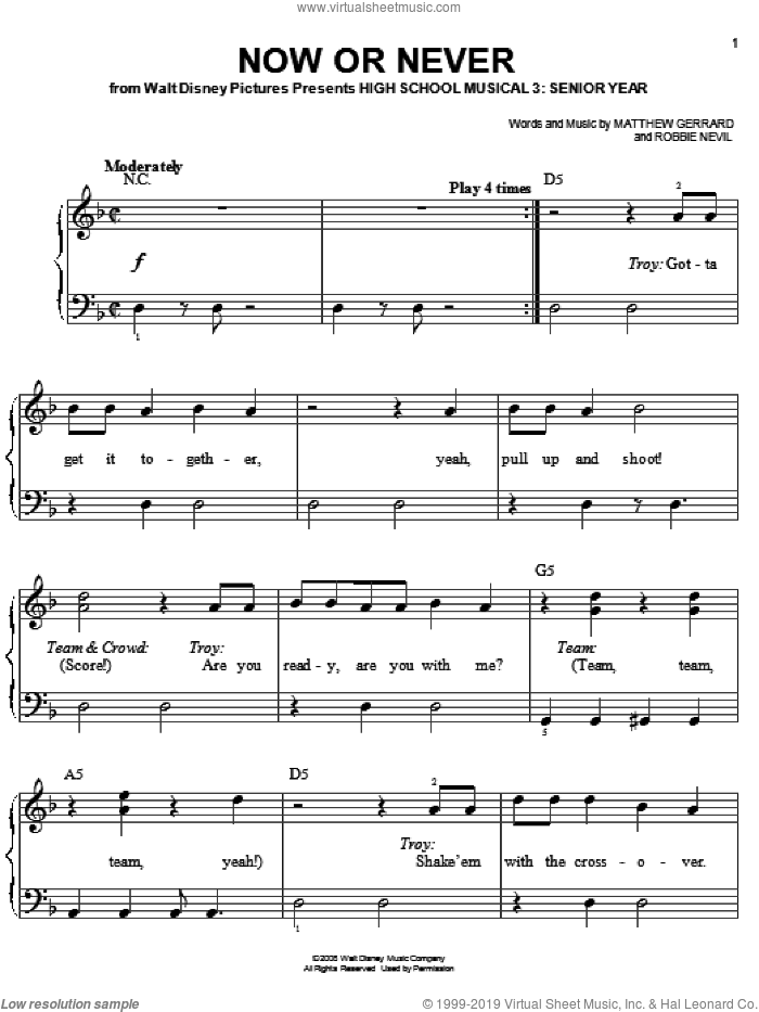 Now Or Never sheet music for piano solo by High School Musical 3, Matthew Gerrard and Robbie Nevil. Score Image Preview.