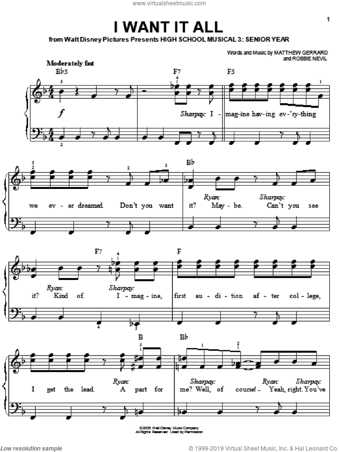 I Want It All sheet music for piano solo by High School Musical 3, Matthew Gerrard and Robbie Nevil, easy skill level