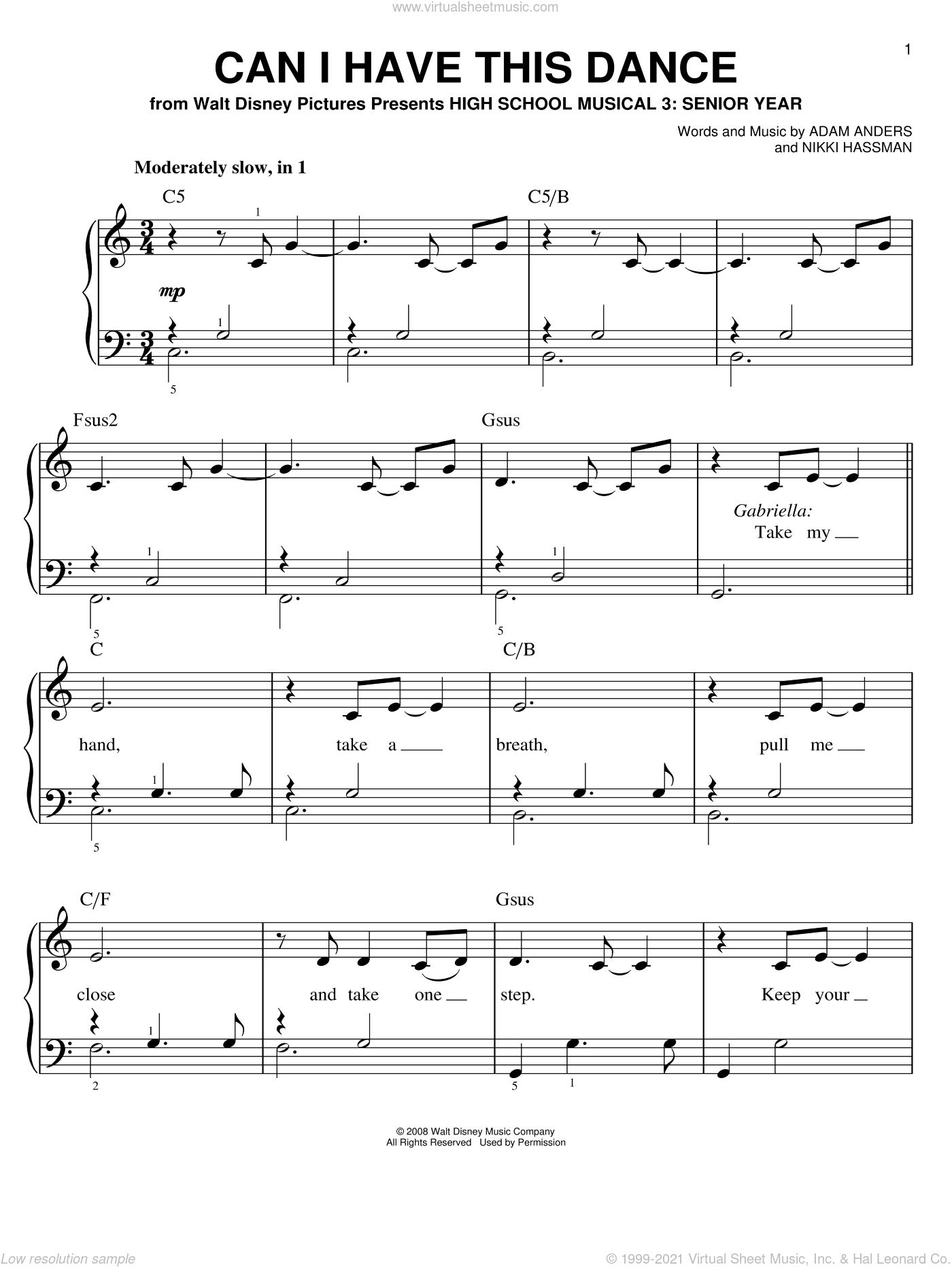 Can I Have This Dance sheet music for piano solo by High School Musical 3, Adam Anders and Nikki Hassman, easy skill level