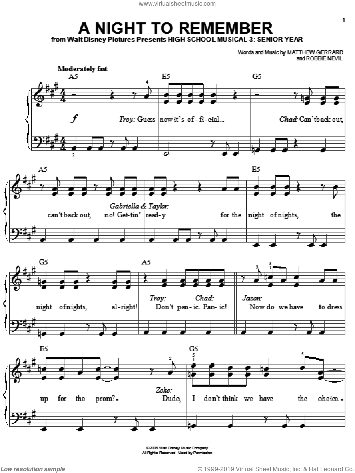 A Night To Remember sheet music for piano solo by High School Musical 3, Matthew Gerrard and Robbie Nevil, easy skill level
