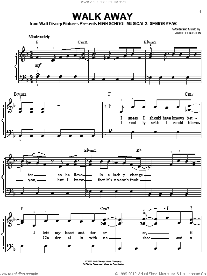 Walk Away sheet music for piano solo by High School Musical 3 and Jamie Houston. Score Image Preview.