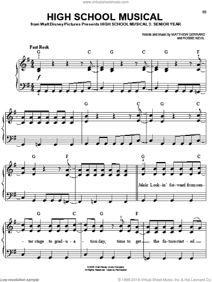 High School Musical sheet music for piano solo by High School Musical 3, Matthew Gerrard and Robbie Nevil, easy skill level