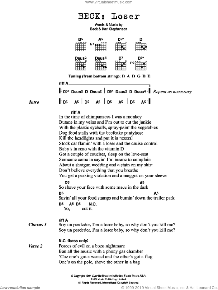 Loser sheet music for guitar (chords) by Karl Stephenson and Beck Hansen. Score Image Preview.