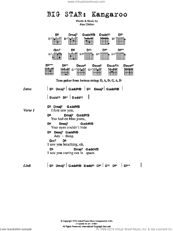 Kangaroo sheet music for guitar (chords) by Alex Chilton
