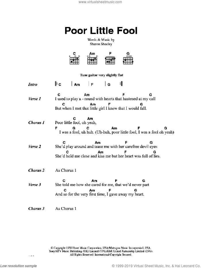 Poor Little Fool sheet music for guitar (chords) by Sharon Sheeley