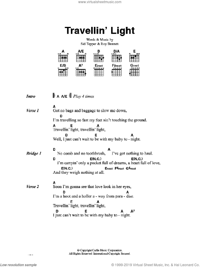 Travellin' Light sheet music for guitar (chords) by Cliff Richard, Roy Bennett and Sid Tepper, intermediate. Score Image Preview.