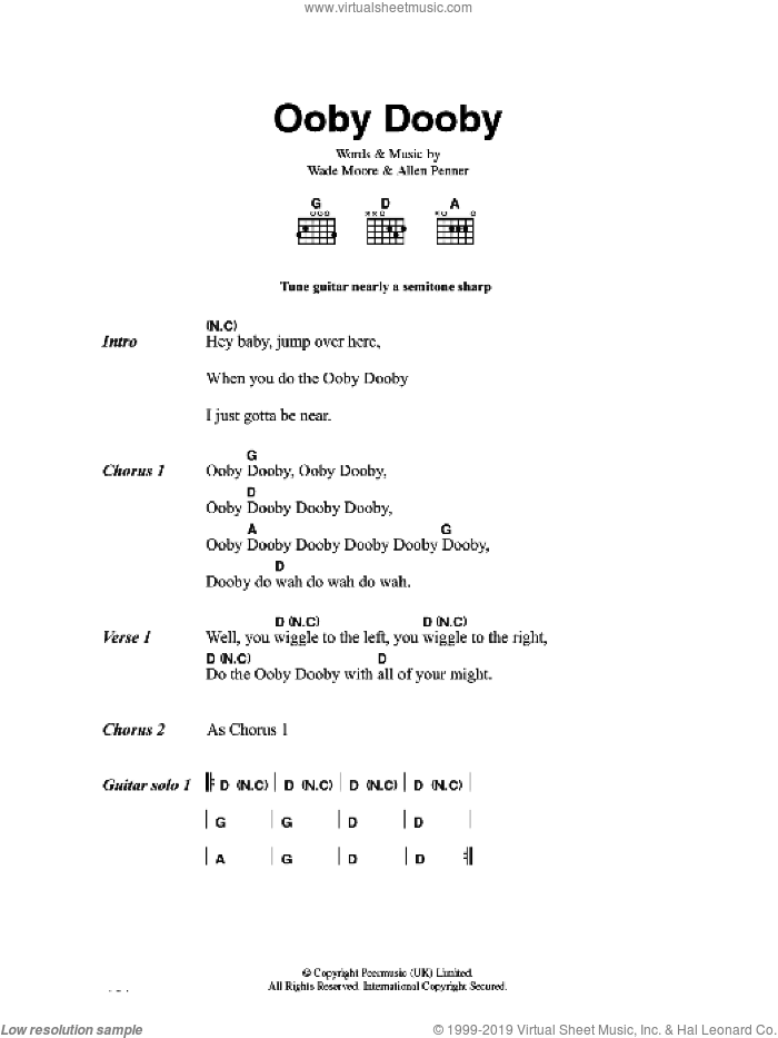 Ooby Dooby sheet music for guitar (chords, lyrics, melody) by Allen Penner