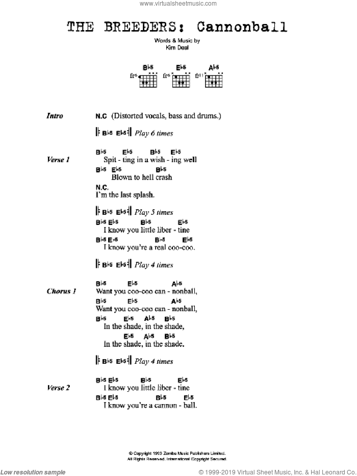 Cannonball sheet music for guitar (chords) by The Breeders and Kim Deal, intermediate skill level