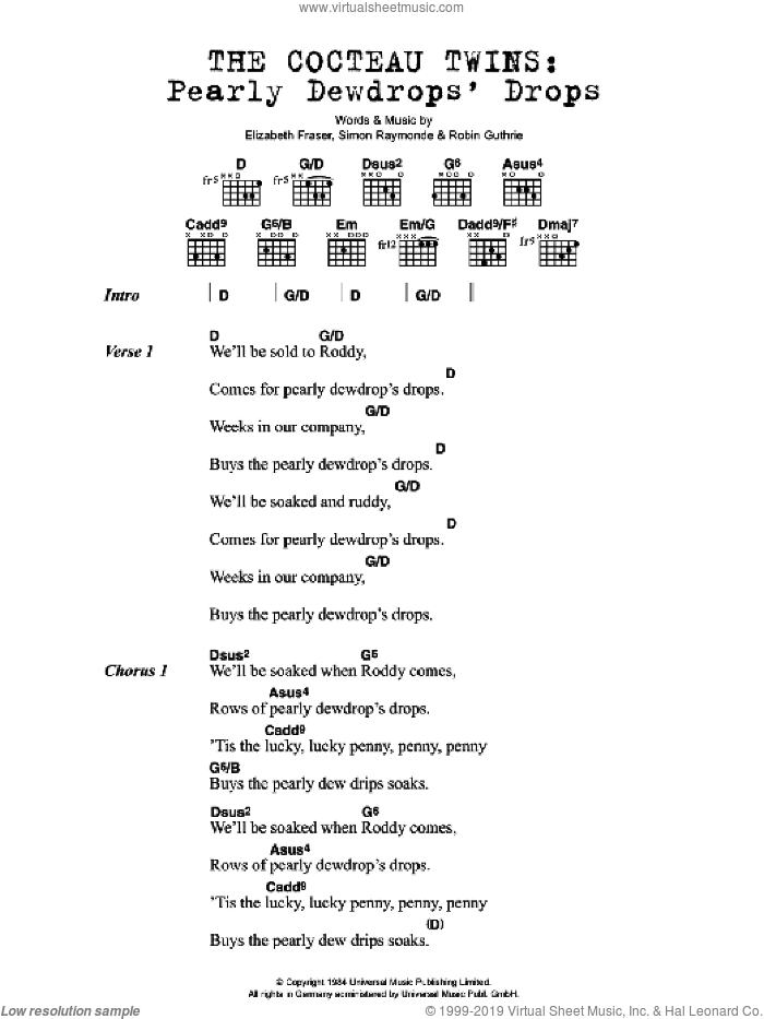 Pearly Dewdrops' Drops sheet music for guitar (chords) by Cocteau Twins, Elizabeth Fraser, Robin Guthrie and Simon Raymonde, intermediate. Score Image Preview.