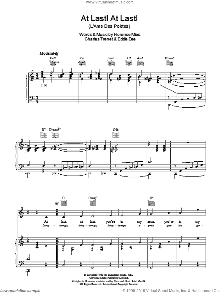At Last! At Last! (L'Ame Des Poetes) sheet music for voice, piano or guitar by Charles Trenet, intermediate. Score Image Preview.