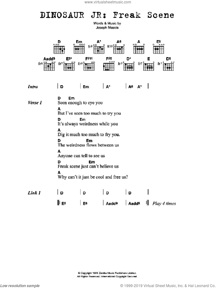 Freak Scene sheet music for guitar (chords) by Dinosaur Jr. and Joseph Mascis, intermediate