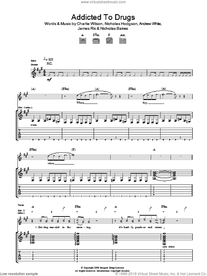 Addicted To Drugs sheet music for guitar (tablature) by Andrew White, Charlie Wilson and Nicholas Hodgson