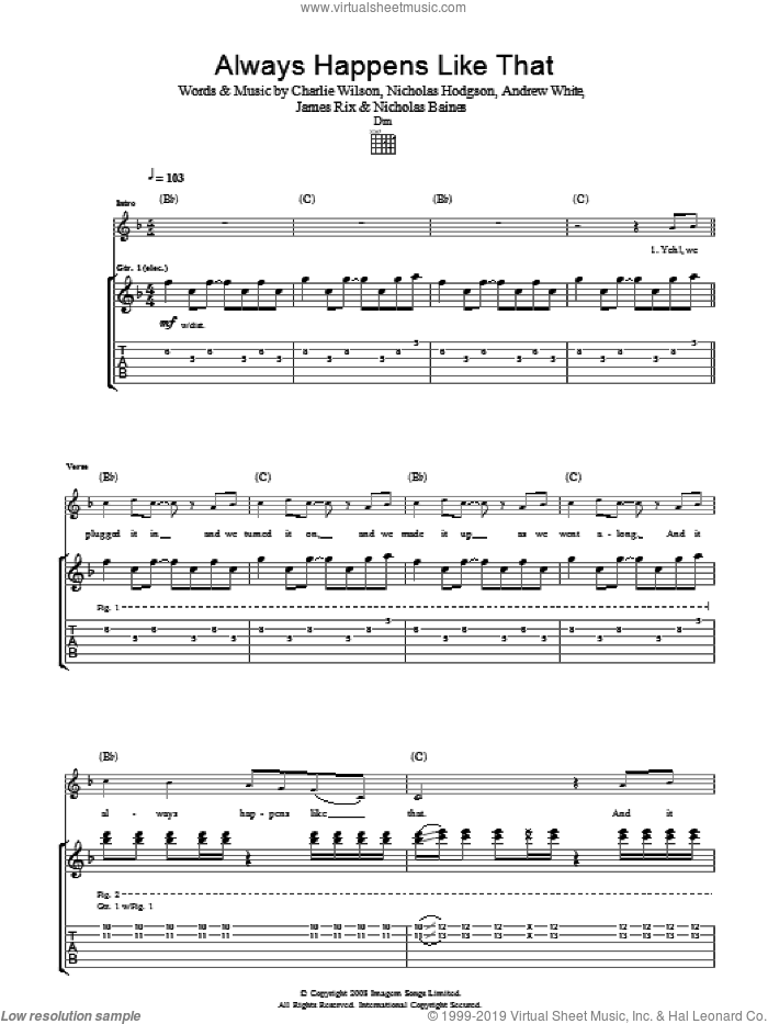 Always Happens Like That sheet music for guitar (tablature) by Kaiser Chiefs and Charlie Wilson. Score Image Preview.