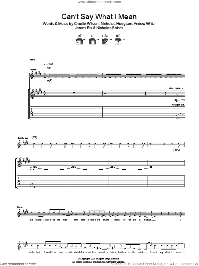 Can't Say What I Mean sheet music for guitar (tablature) by Andrew White