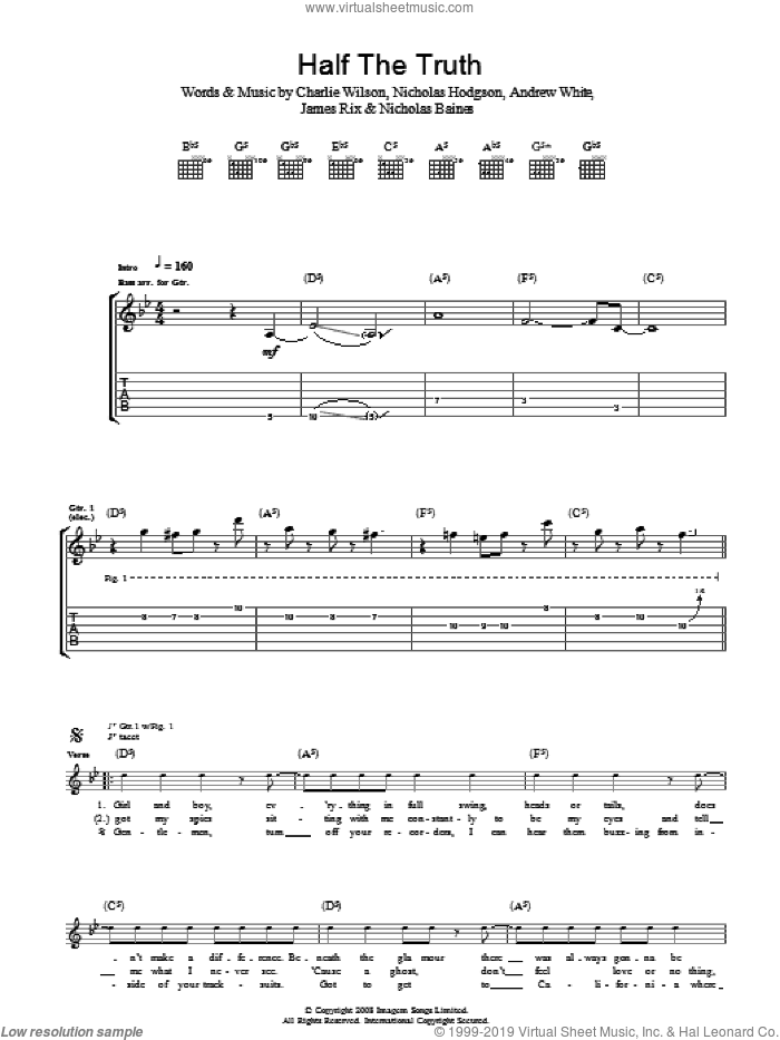 Half The Truth sheet music for guitar (tablature) by Andrew White, Charlie Wilson and Nicholas Hodgson. Score Image Preview.