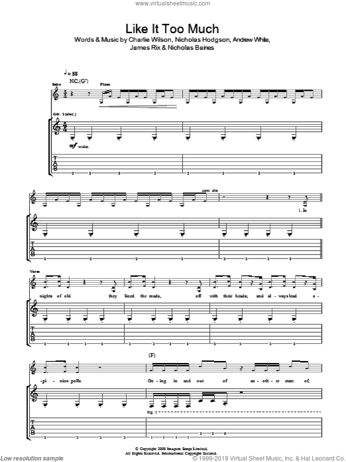 Like It Too Much sheet music for guitar (tablature) by Andrew White, Charlie Wilson and Nicholas Hodgson. Score Image Preview.