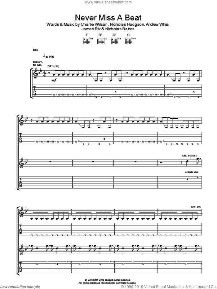 Never Miss A Beat sheet music for guitar (tablature) by Andrew White, Charlie Wilson and Nicholas Hodgson. Score Image Preview.
