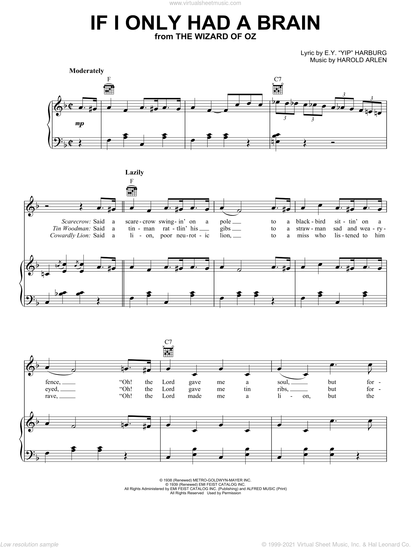 If I Only Had A Brain sheet music for voice, piano or guitar by Ray Bolger, Judy Garland, The Wizard Of Oz (Movie), E.Y. Harburg and Harold Arlen, intermediate skill level