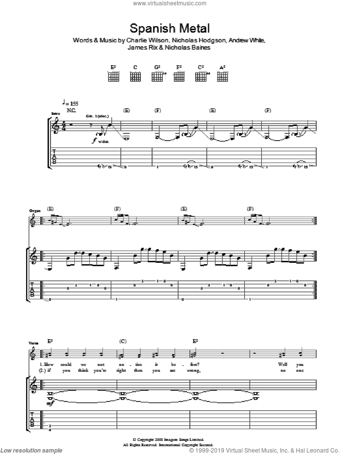 Spanish Metal sheet music for guitar (tablature) by Kaiser Chiefs, Andrew White, Charlie Wilson, James Rix, Nicholas Baines and Nicholas Hodgson, intermediate skill level